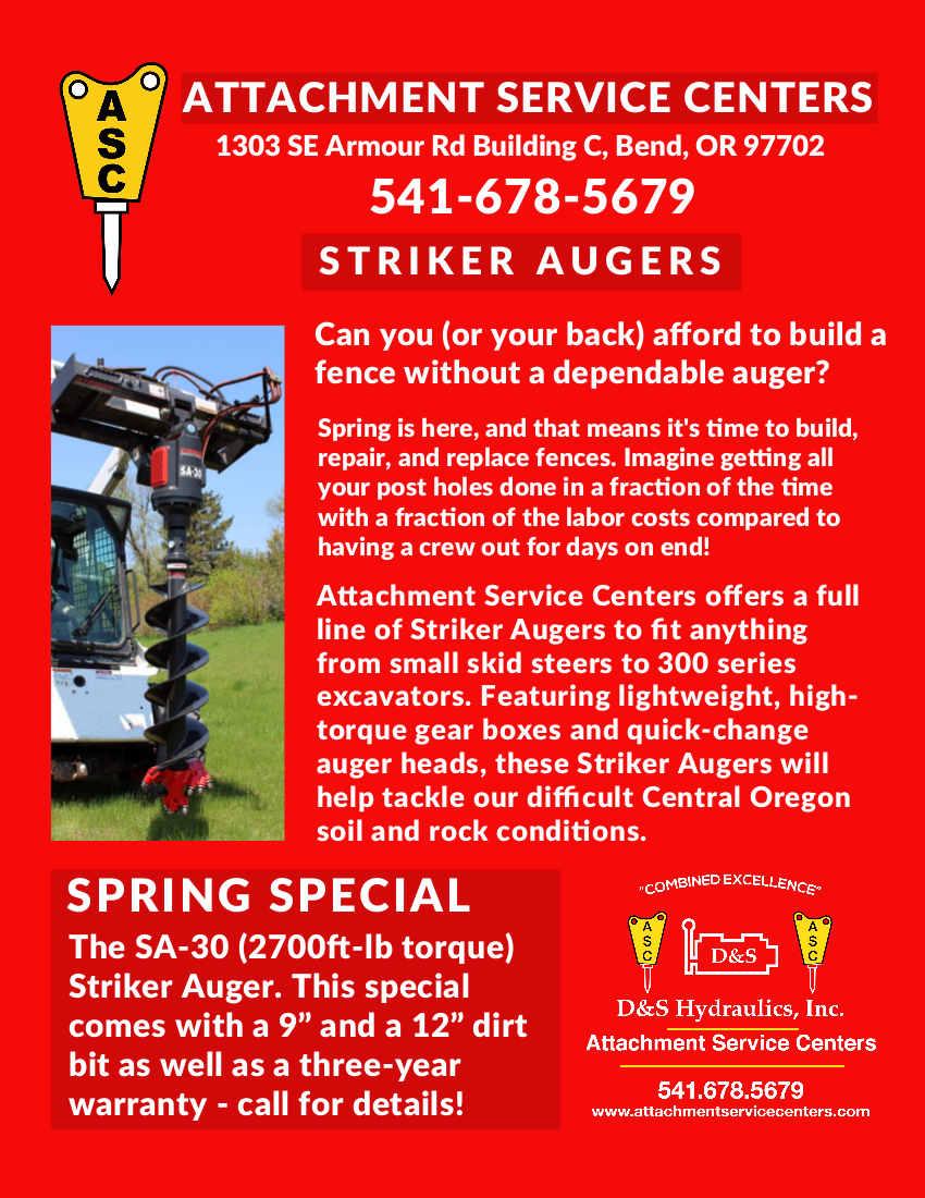 Striker augers at Attachment Service Centers
